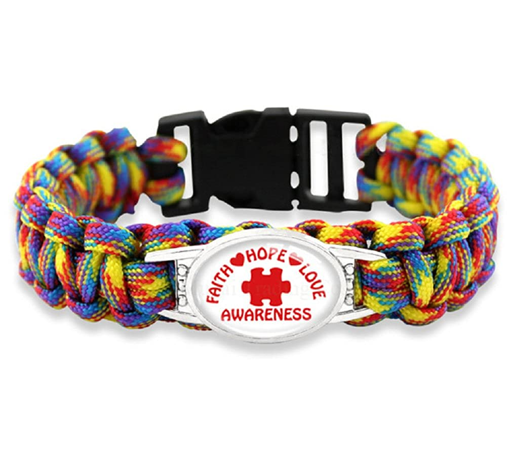 Autism Awareness or Identity Puzzle Piece Paracord Bracelet by JGFinds, Larger 8.5 Inch JGParaDog
