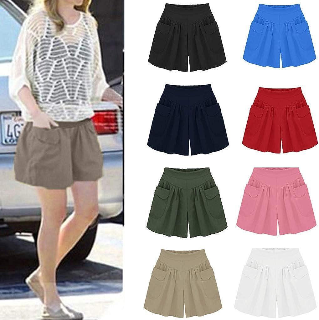 Shorts for Women Plus Size Comfortable Culottes Elastic Waist Wide Leg Pocket Casual Shorts Loose Fit Short Pants Ulanda