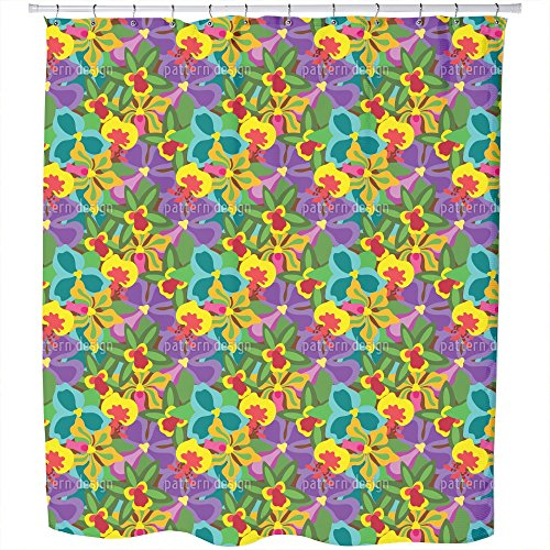 Uneekee Colorful Orchid Shower Curtain: Large Waterproof Luxurious Bathroom Design Woven Fabric by uneekee