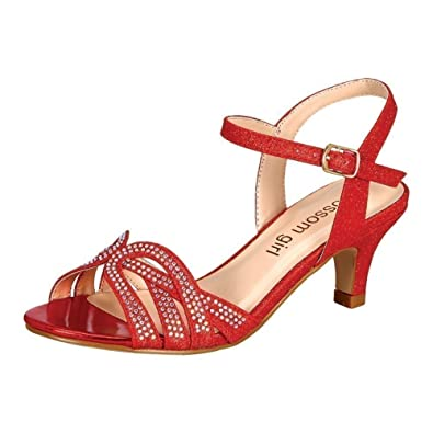 b6e46cc5f421b5 Little Girls Red Sparkle Rhinestone Accent Low Heel Sandals 8 Toddler