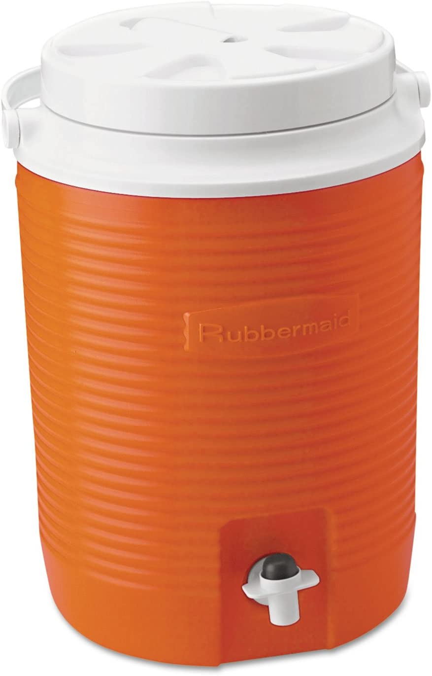 Durable Rubbermaid FG15300411 2 Gallon Orange Victory Thermal Jug Water Coolers