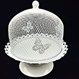 Cake Stand and Dome Lid,Cake Plate Rack Display Holder Metal for Tea Shop Room Hotel, Wedding Cake Dome,Serving Stand, Food Dome,Cake Display Presentation (white 2)