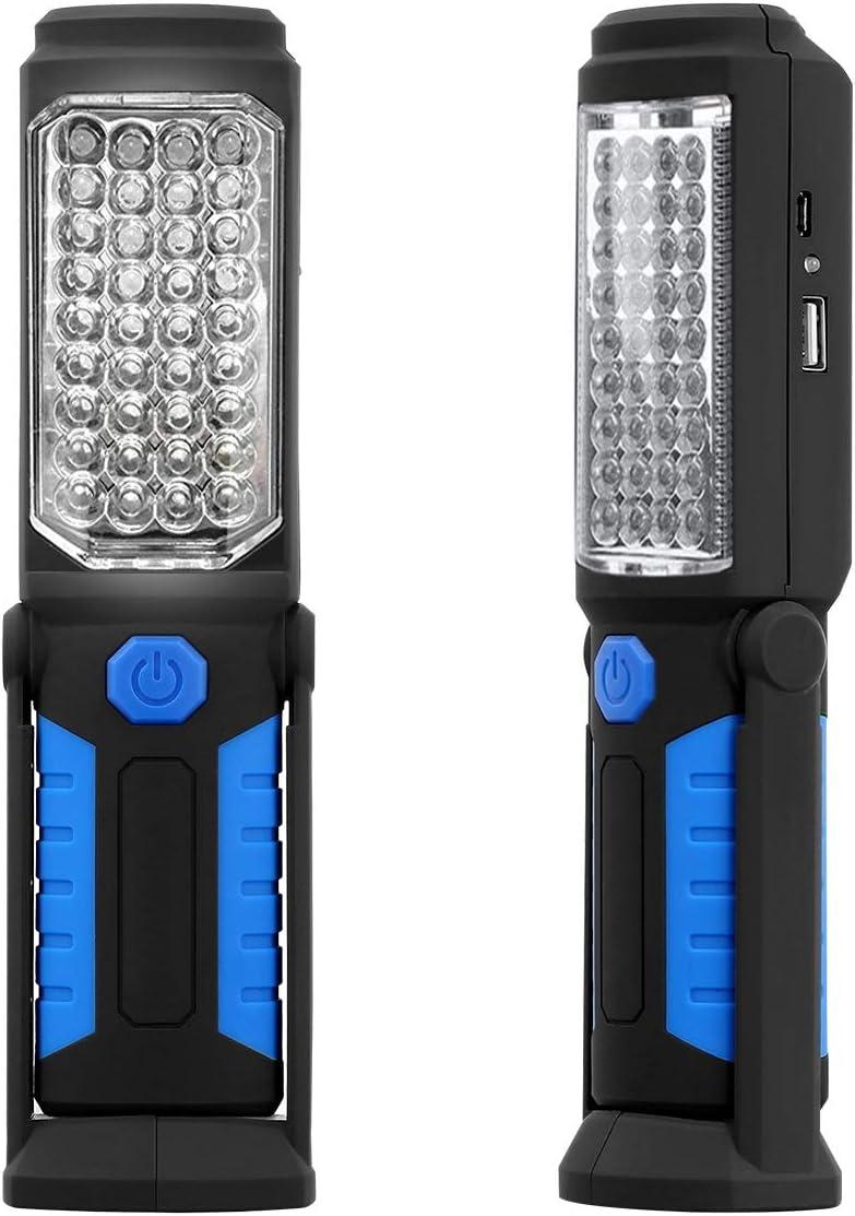 Lampe rechargeable de torche de maison de m/écanicien de garage de voiture de lumi/ère de travail magn/étique de l/ÉPI LED Color : Blue