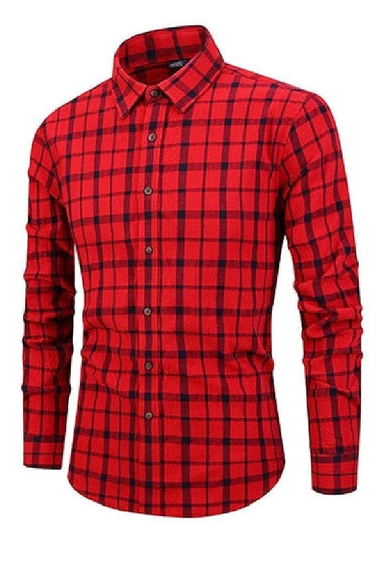 DressUMen Business Cotton Office Plaid Slim Fit Dress Shirts