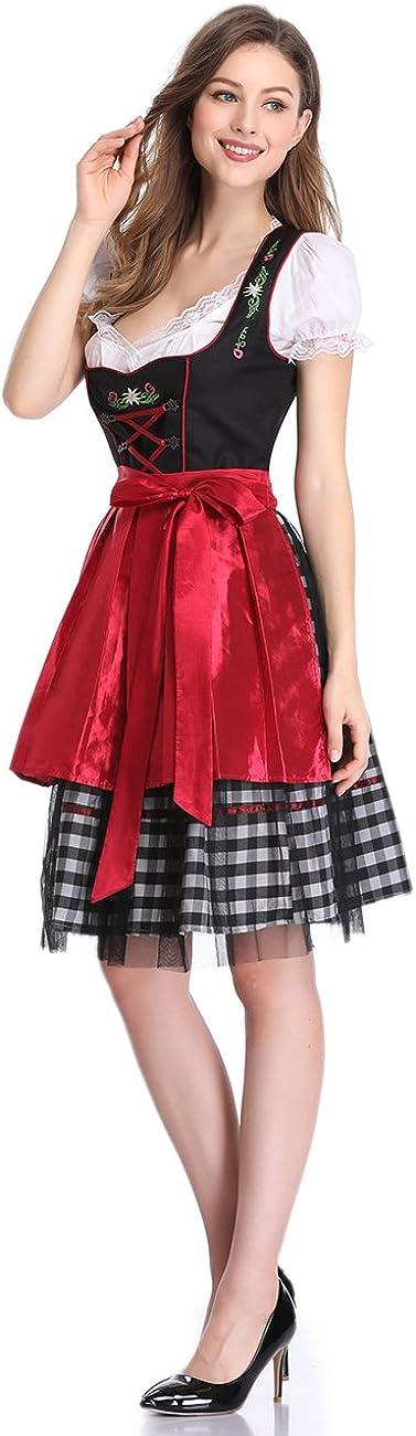 Clearlove Dirndl 3 TLG.Damen Midi Trachtenkleid f/ür Oktoberfest,Karneval,Spitzen Kleid/&Bluse/&Sch/ürze(Verpackung MEHRWEG)