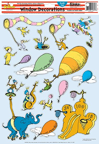 (Eureka Back to School Dr. Seuss 'Oh The Places You'll Go!' Vinyl Window Clings and Classroom Decorations, 15pc, 12'' W x 17'' H)