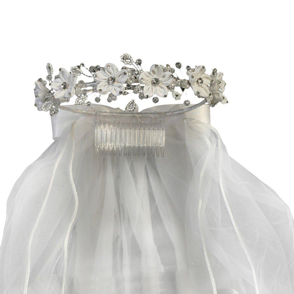 Lito Girls White Satin Flower Sparkle Rhinestones Headpiece 24'' Communion Veil