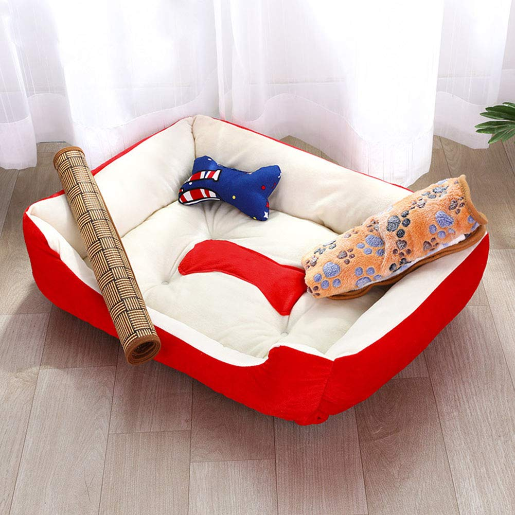 Small Suede Dog Bed, Square Padded Sleeping Pet Cushion, Soft Washable Non-Skid Pet Kennel Cat Litter Keep Warm Red, Four Seasons Universal,S