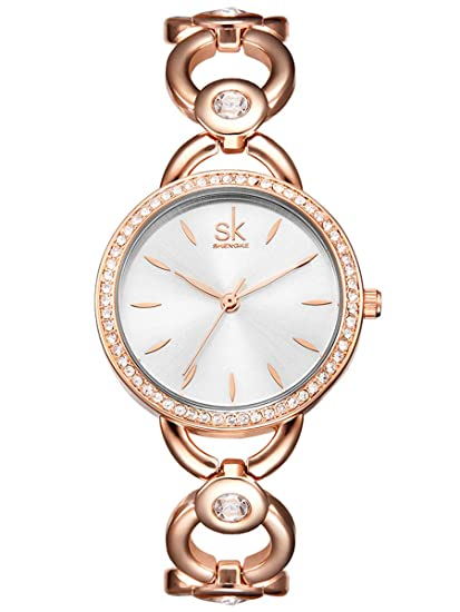 Alienwork Reloj Mujer Relojes Acero Inoxidable Oro Rosa Analógicos Cuarzo Blanco Impermeable Strass Ultra-Delgada Slim Elegante: Amazon.es: Relojes