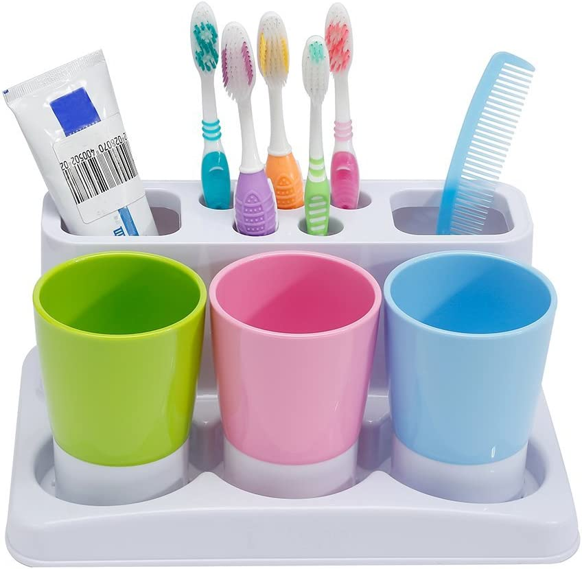 Eslite Toothbrush Toothpaste Holder Stand for Bathroom Storage Organizer