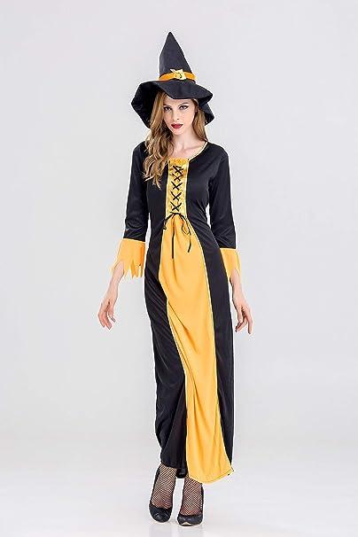 Ruanyi Disfraz de bruja Disfraz de bruja larga negra Disfraz de ...