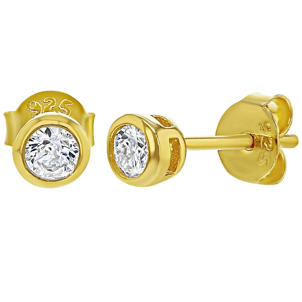 Yellow Gold Flashed 925 Sterling Silver Clear CZ Round Stud Earrings Kids 4mm