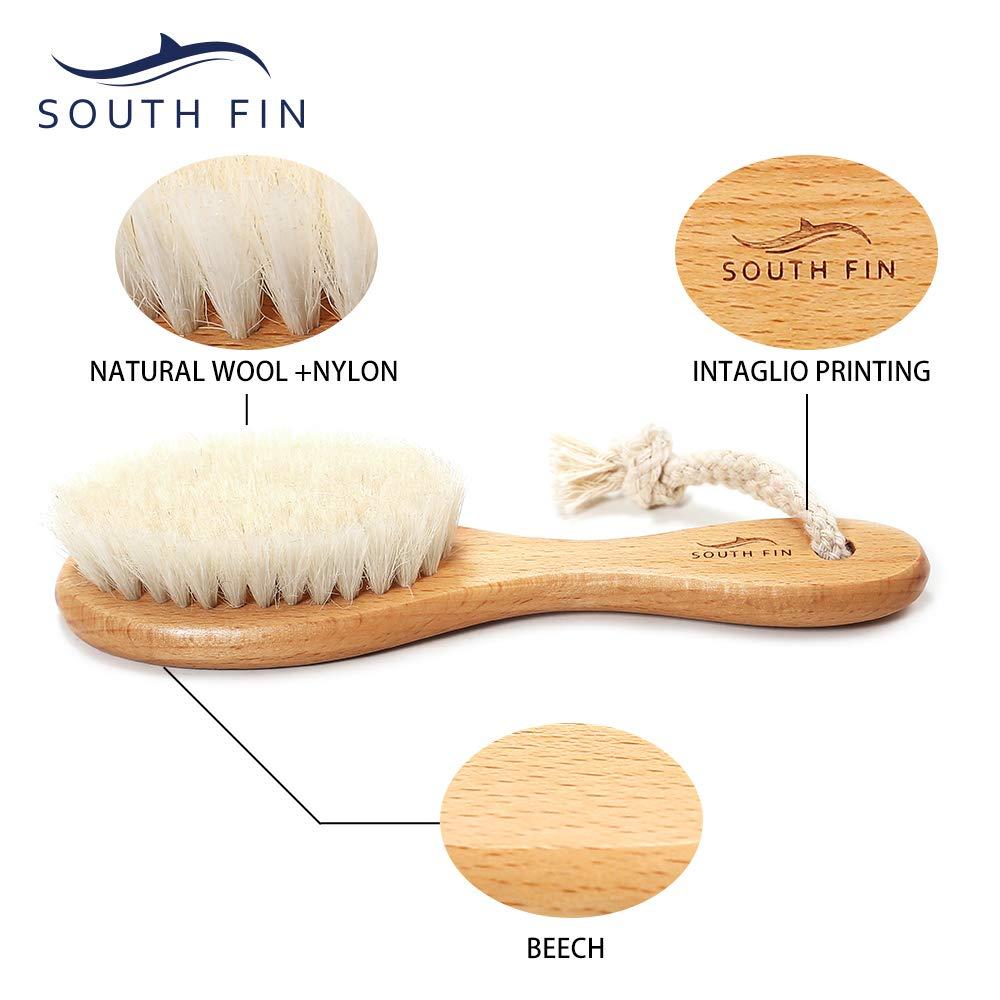 Moobeasch FIN DEL SUR Cepillo de pelo de beb/é de madera para reci/én nacidos peine del pelo infantil suave lana pelo del cuero cabelludo masaje cuna del beb/é cap cuidado cepillo