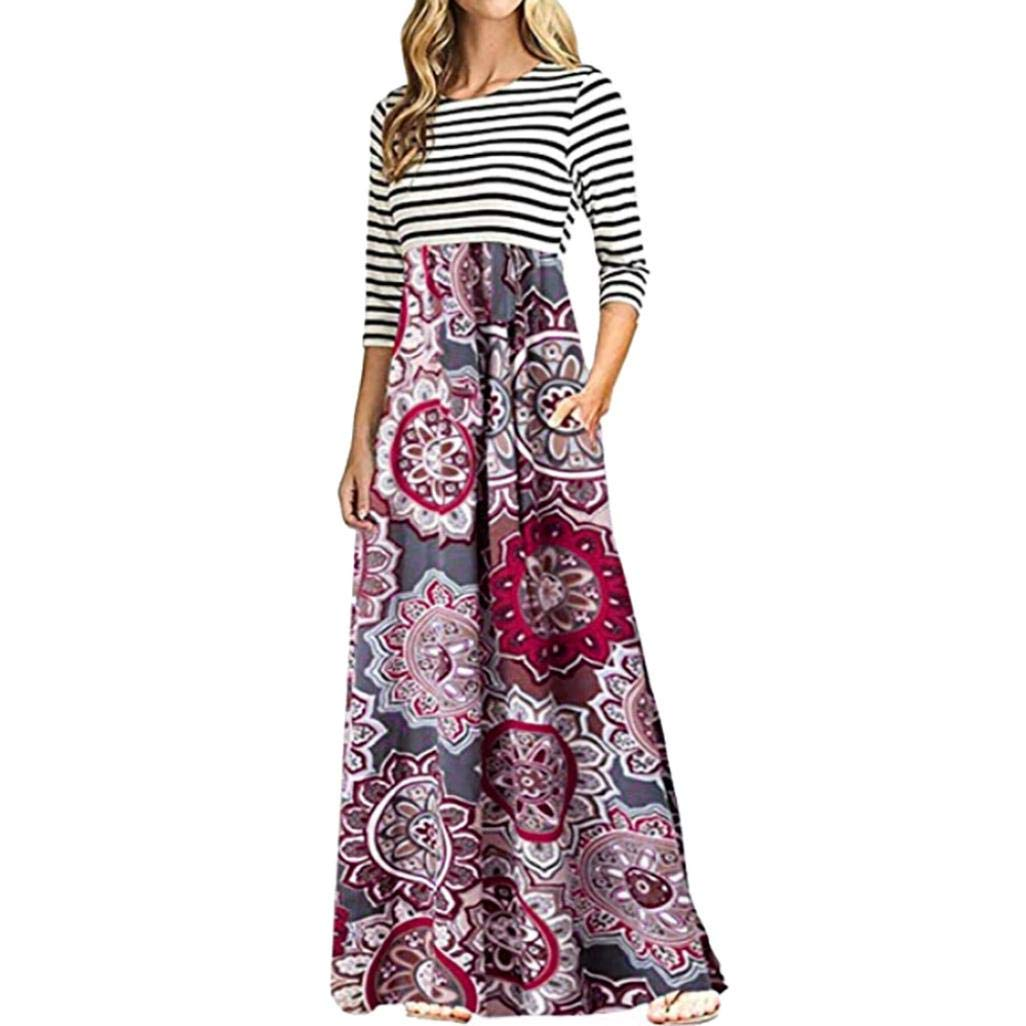 HongXander Women's Dress, Women Long Sleeve Striped Print Patchwork Bohemian Long Maxi Dress with Pocket