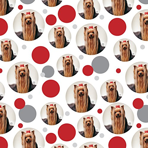 GRAPHICS & MORE Yorkie Yorkshire Terrier Dog Red Bow Premium Gift Wrap Wrapping Paper Roll