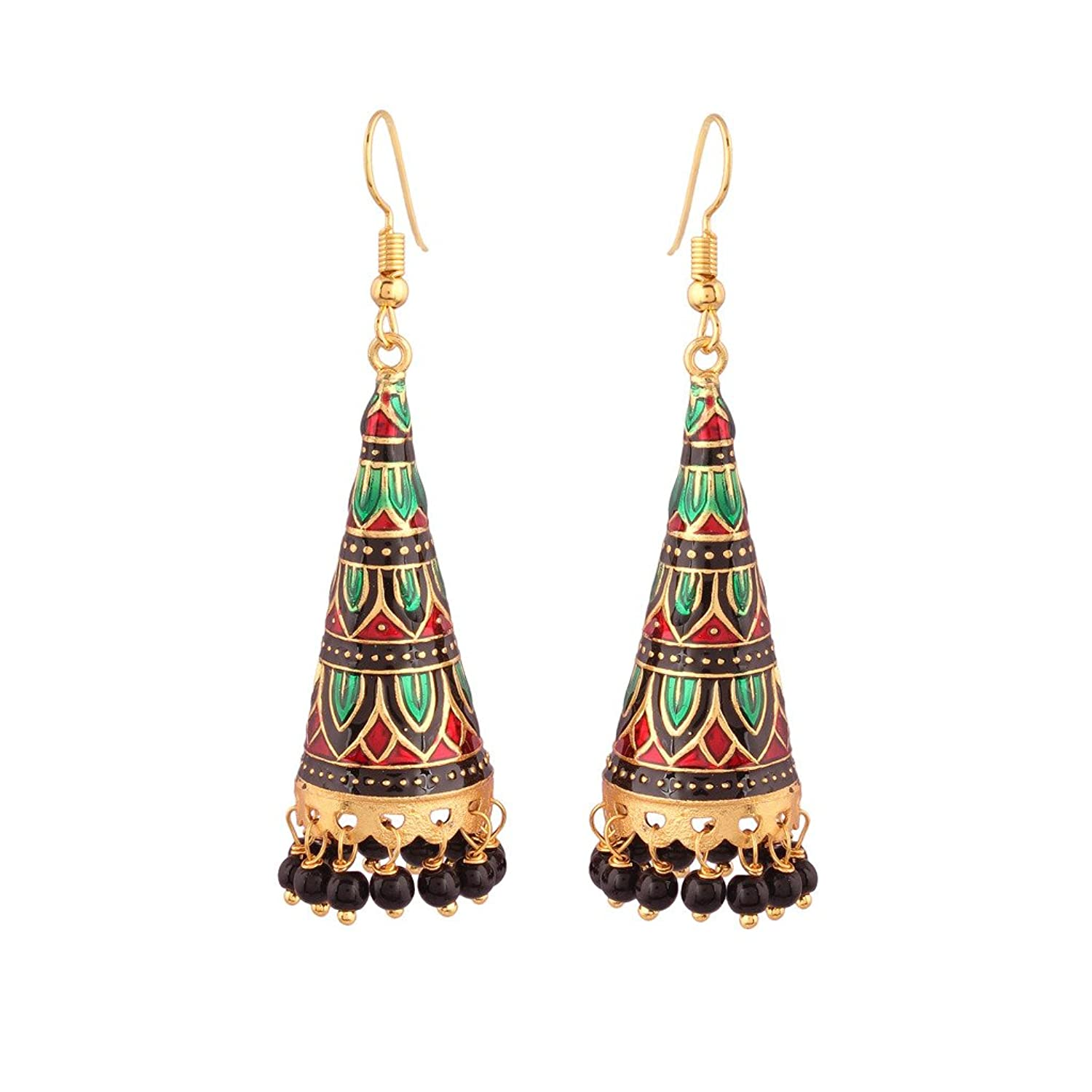 rajasthani meeranakari droplets traditional earrings work big long danglers jaipuri in meenakari productdetails