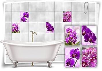 Medianlux Fliesenaufkleber Fliesenbild Blumen Orchidee Spa Wellness Dekoration  Badezimmer Fliesen Bad Deko, 20x25cm