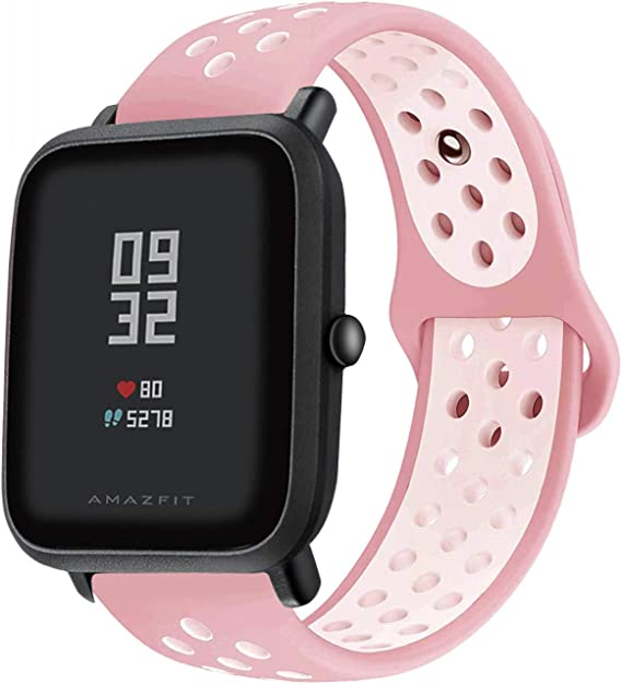 LitoDream Compatible Amazfit Bip Watch Band, 20mm Amazfit Bip Bands Soft Silicone Wristband Replacement Straps for Xiaomi Huami Amazfit Bip Smartwatch ...