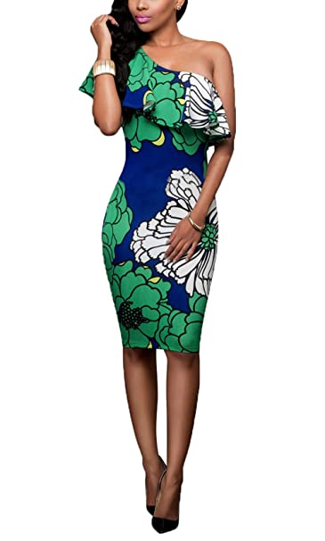 c50aa34393d5 Suimiki Women s Sexy One Off Shoulder Floral Printed Ruffle Bodycon Midi Dress  Green Small