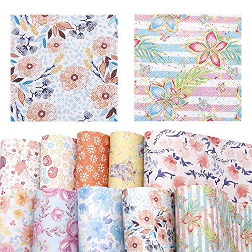Ships Floral Large Bow (David accessories Flower Floral Pattern Printed Faux Leather Sheet Synthetic Leather Fabric 10 Pcs 8