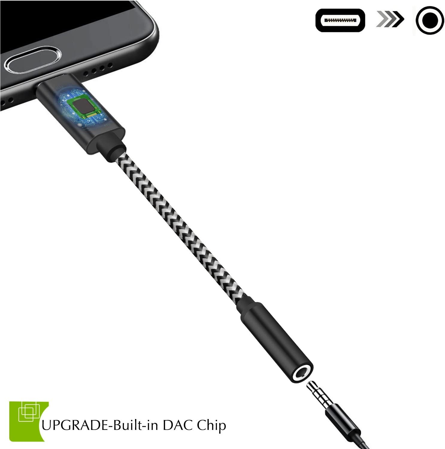 Huawei MacBook HTC Moto Z Dreamvasion USB-C to 3.5mm Adapter Pixel 2 XL Nylon Braided Type C to 3.5mm Aux Headphone Adapter Cable with DAC//Hi-Res for Google Pixel 2 Sony Xiaomi Essential Ph-1
