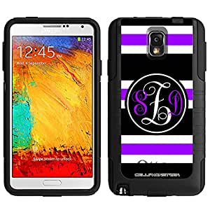 Monogram Otterbox Commuter Preppy Stripes Purple Black White Samsung Galaxy Note 3 Case