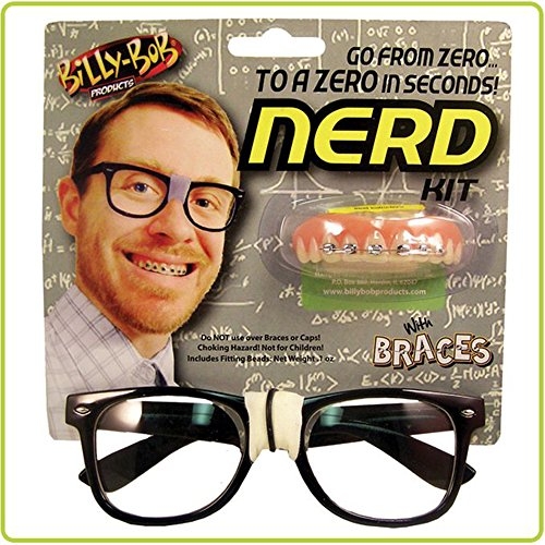 [Nerd Kit with Glasses and No-fool Braces By Billy-bob] (Costumes Braces)