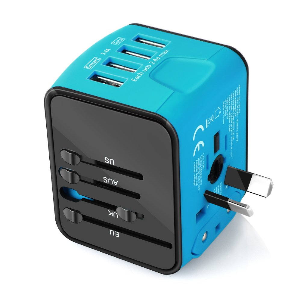 Universal Travel Adapter, Castries All-in-one Worldwide Universal Travel Socket 2.4A 4 USB International Power Adapter Converters AC Plug for US EU UK AU & Asia Countries Covers 170+Countries (Blue)