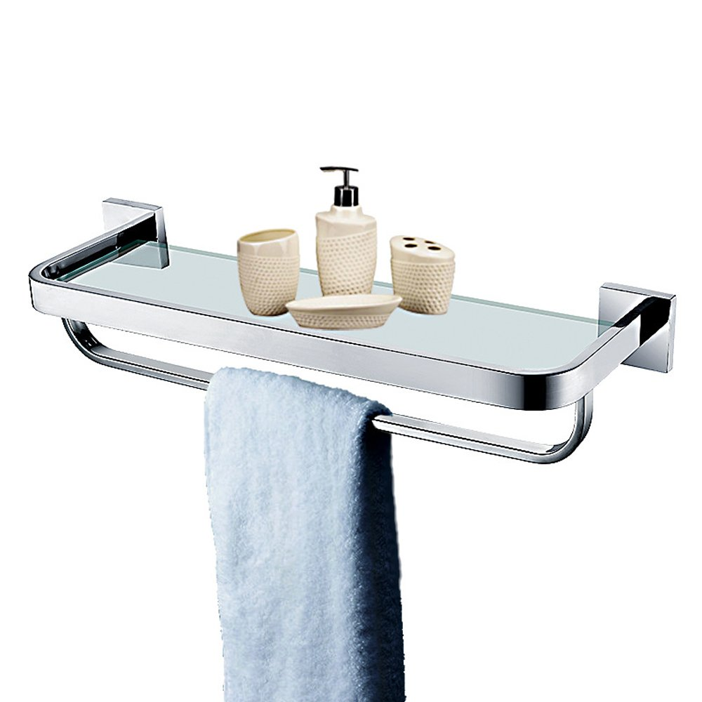 Leyden TM Stainless Steel Bathroom 20-Inch Glass Shelf Wall Mount Cosmetic Holder with Towel Bar, Polished Chrome