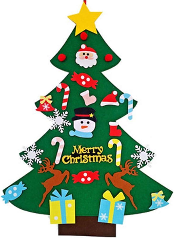 Xinlie Fieltro Árbol de Navidad El árbol de Navidad del Fieltro de los DIY Decoración del árbol de Navidad Felt Christmas Tree 3D Fake Xmas Tree Adornos Extraíble para Las Decoraciones de la Navidad