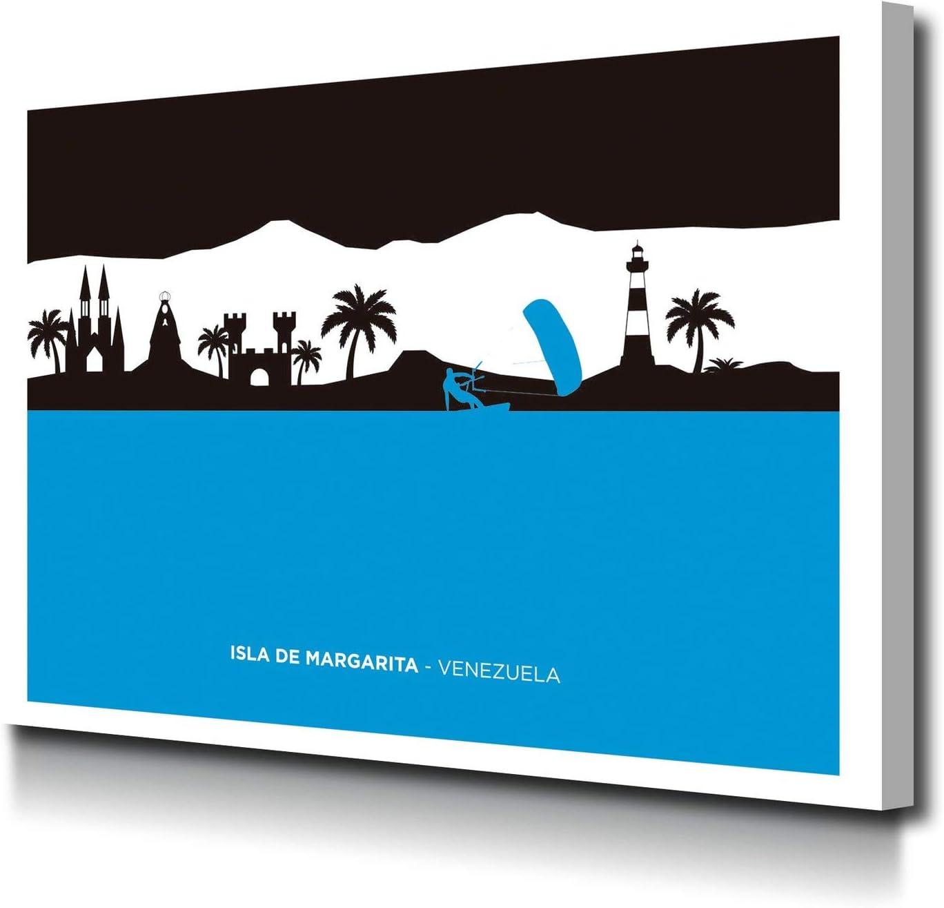 Foto Canvas Cuadro Isla de Margarita Venezuela Skyline Decoración Pared   Lienzos De Arte Moderno para El Hogar   Ideal para decoración salón   40 x 30 cm sobre Bastidor de Madera Grueso