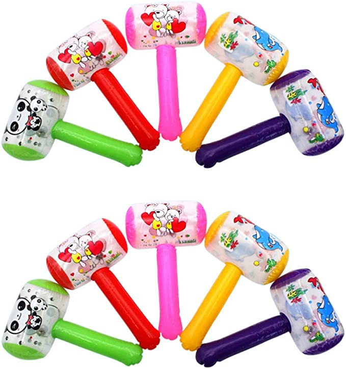 Cartoon Inflatable Hammer Air Hammer With Bell Kids Children Blow Up Toys JE*kn