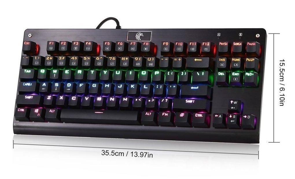 Teclado de arco iris negro Eagle mecánico Z-77 Multicolor LED teclado de juego mecánico retroiluminado con los interruptores azules, teclado de 87 teclas ...