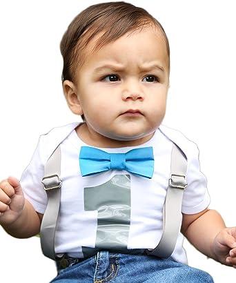 Noahs Boytique Baby Boys 1st Birthday Bodysuit With Bow Tie Newborn Blue