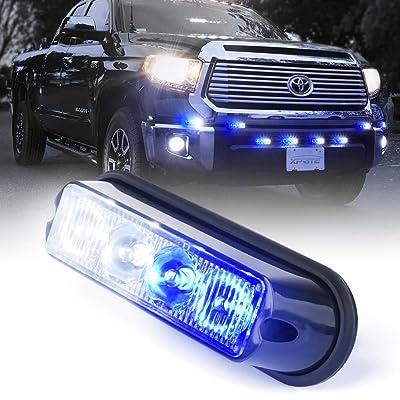 Xprite White & Blue 4 LED 4 Watt Emergency Vehicle Waterproof Surface Mount Deck Dash Grille Strobe Light Warning Police Light Head with Clear Lens: Automotive [5Bkhe1401990]