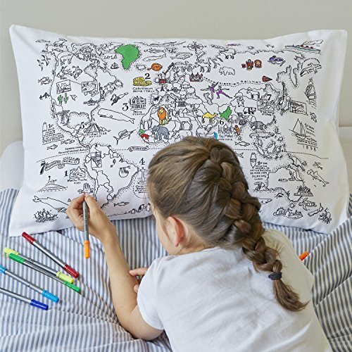 Doodle World Map Pillowcase, Color Your Own Pillow Case, Coloring Pillowcase with 10 Washable Fabric Markers ()