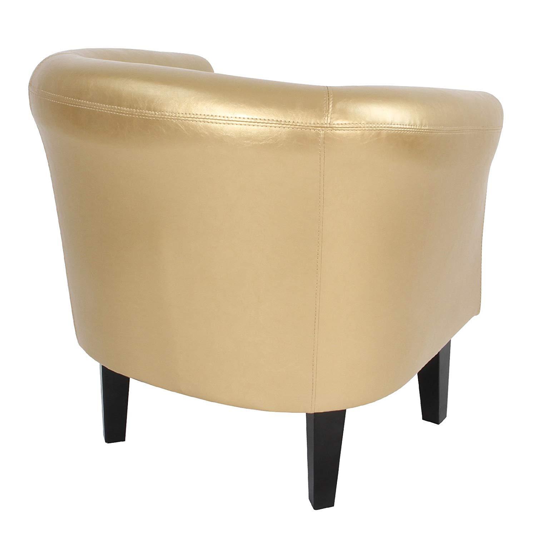 Miadomodo Poltrona Chesterfield Colore Oro Imbottita Vittoriana Lounge Cocktail Bar Mobili