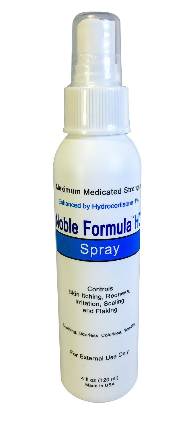 Noble Formula 1% Hydrocortisone Spray with .25% Pyrithione Zinc (Znp), 4 oz (2 Pack)