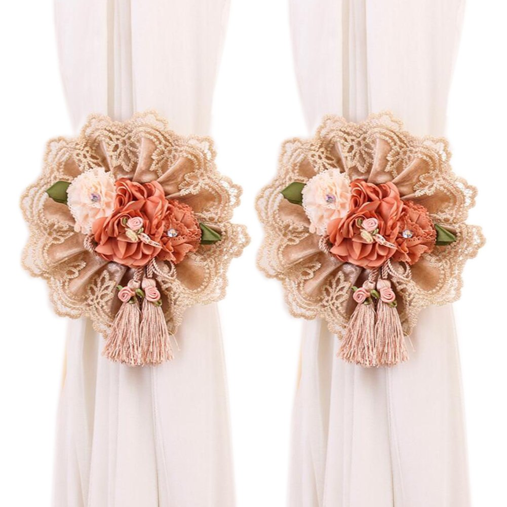 YING CHIC YYC 1Pair Lace Flower Curtain Tieback Buckle Ribbon Drape Holder Nursery Bedroom Decor (Beige)