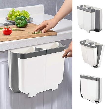 Dormitorio Blanco y Gris 13L Oficina Ba/ño TTMOW Cubos de Basura Plegable Colgando 2 en 1 con 2 Compartimentos para Cocina Sala