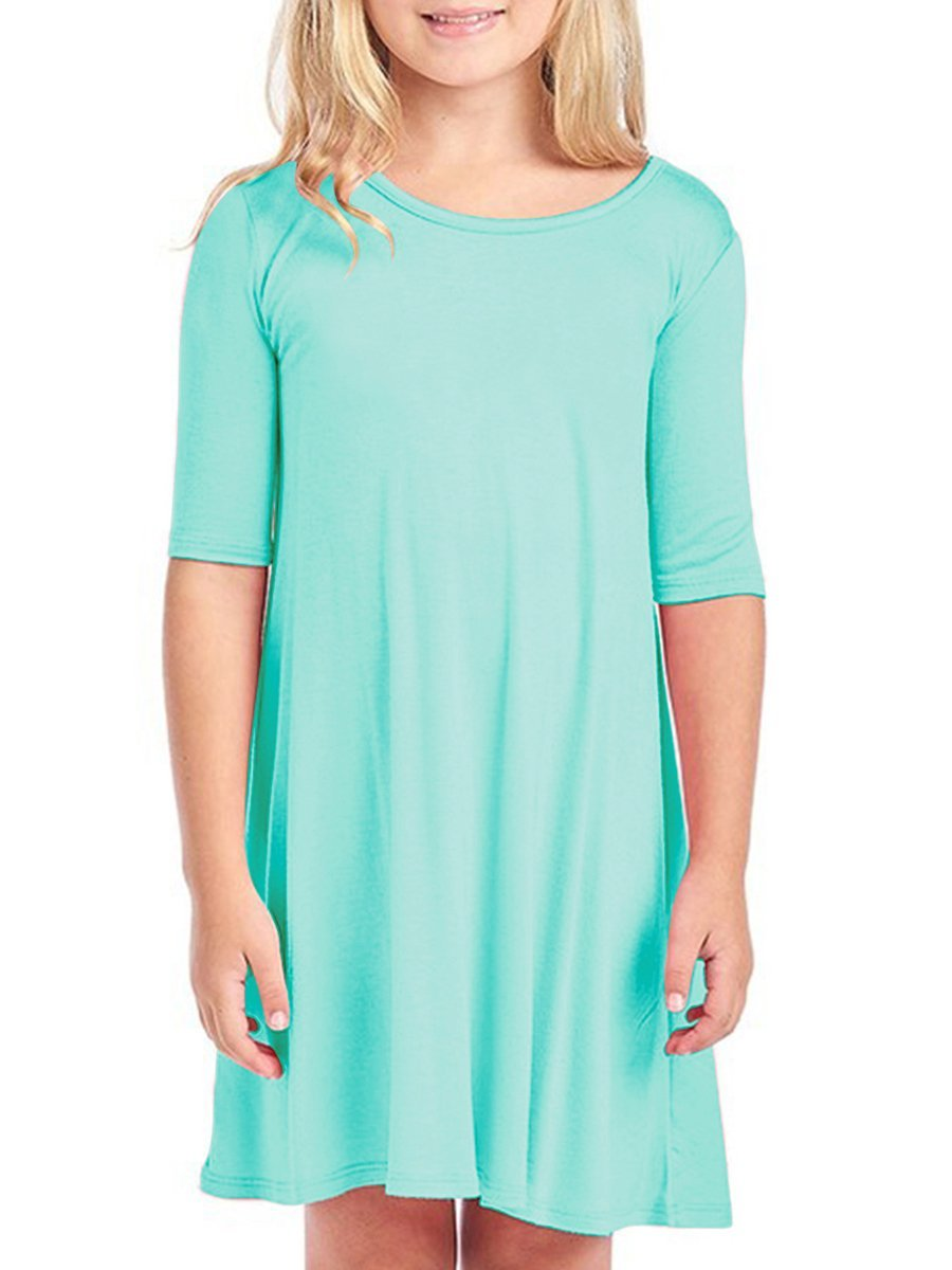 Caitefaso Girls T Shirt Dresses Round Neck 1/2 Sleeve Casual Swing Midi Dress Light Blue Size 4-5 T