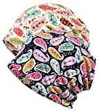Qiabao Women's Floral Printed Chemo Cap Hat Slouchy Beanie (2 Pack-A)