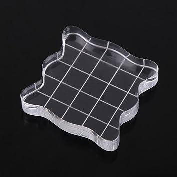 acrílicos bloque, acrílico claro estampado de goma para sellos Craft fácil asa de forma cuadrada transparente Fun Pad para manualidades de scrapbooking ...