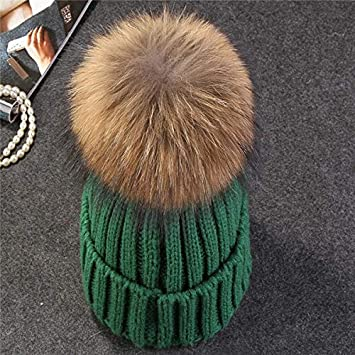 b9213ac2a58 HOKUGA real mink fur pom poms knitted hat ball beanies winter hat for women  girl