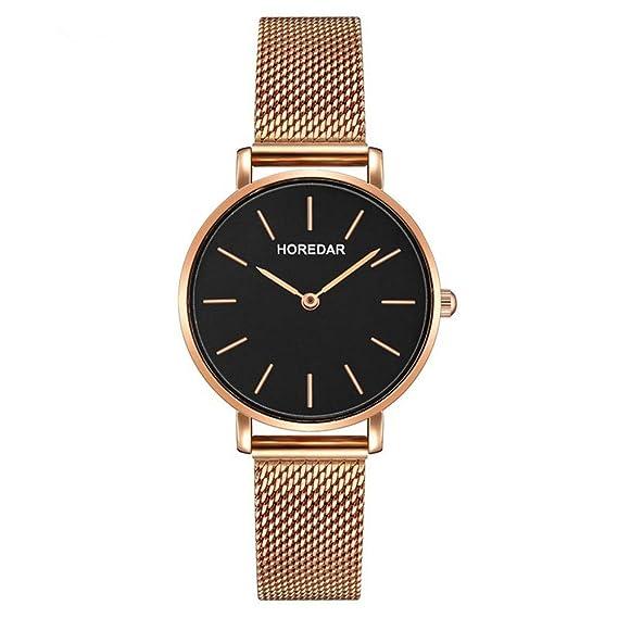 Relojes Mujer con Correa de Malla de Oro Rosa, Escala del Clavo Relojes de Pulsera Elegante clásico, Dial Negro: Amazon.es: Relojes