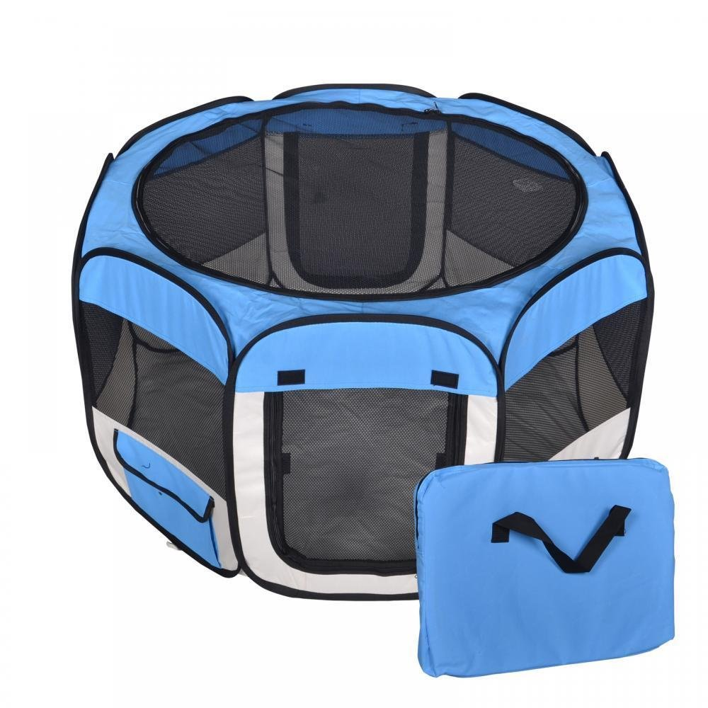Eight24hours New Small Blue Pet Dog Cat Tent Playpen Exercise Play Pen Soft Crate + FREE E-Book
