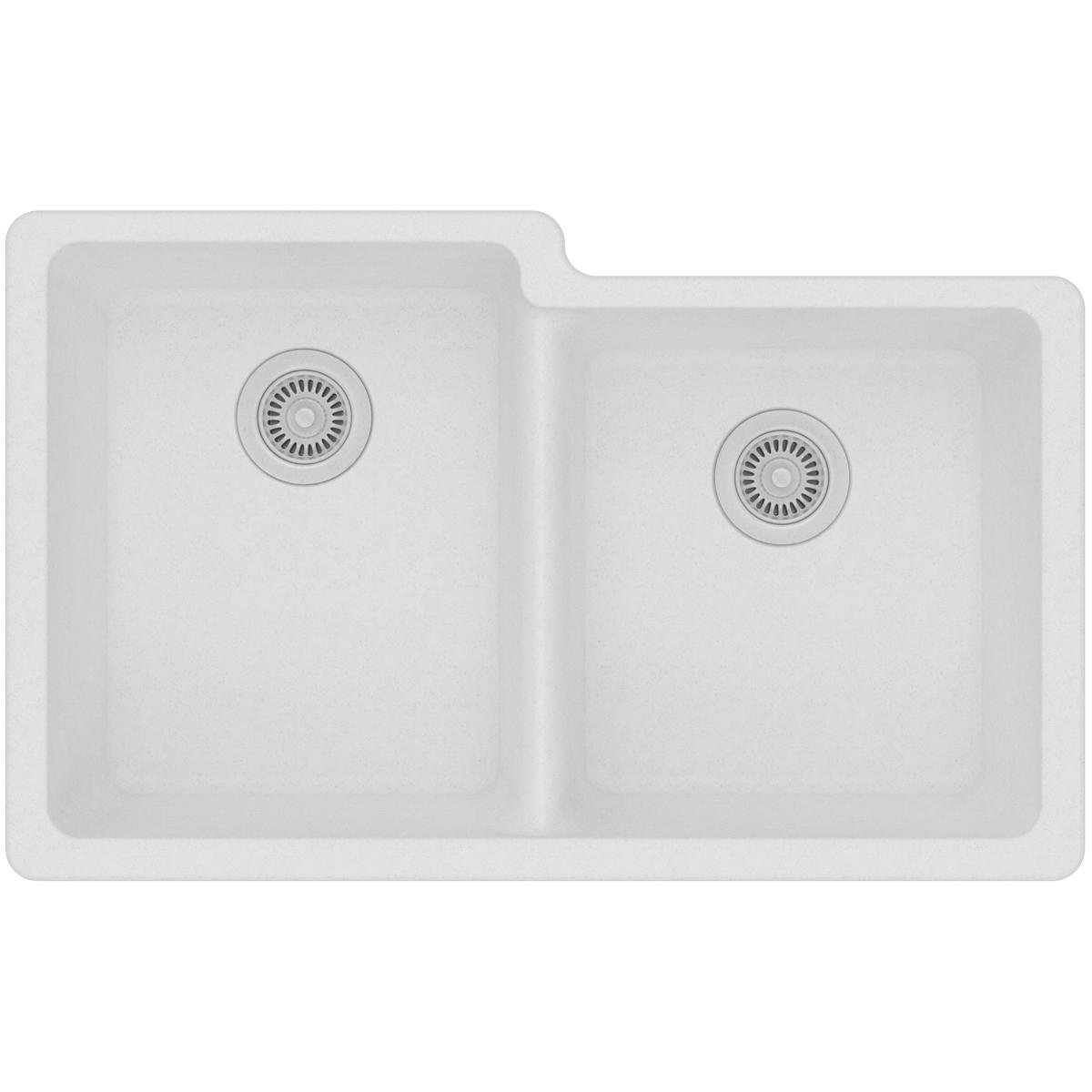 Elkay ELGU250RWH0 Quartz Classic Offset Double Bowl Undermount Sink, White