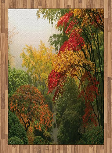 Garden Area Rug by Ambesonne, Maple Trees in the Fall at Portland Japanese Garden One Foggy Morning Scenery, Flat Woven Accent Rug for Living Room Bedroom Dining Room, 5.2 x 7.5 FT, Red Yellow Green by Ambesonne
