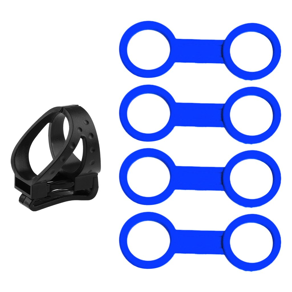 Jili Online 4x Blue Silicone Scuba Snorkel Keeper + 1x Plastic Detachable Clip Retainer Quick Release