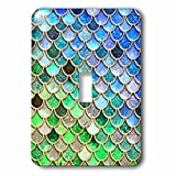 3dRose LSP_275446_1 Image of Sparkling Green Blue Luxury Elegant Mermaid Scales Glitter Toggle Switch, Mixed